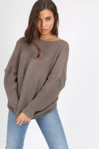 Taupe Knot Back Detail Knit