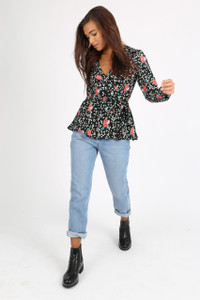 Black Ditsy Floral Button Front Blouse