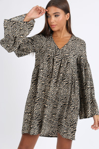 Leopard Print Smock Mini Dress