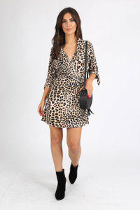 Leopard Print Button Detail Mini Dress