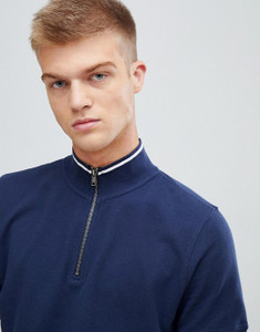 Funel Neck Zip Up Collar Polo  NAVY