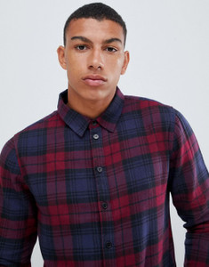 Another Influence Berry Check Shirt