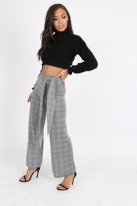 Grey check Belted Wide Leg Trouser