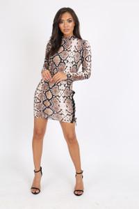 Snake Print Bodycon Lace Up Dress