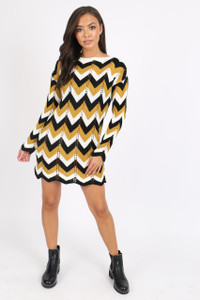 Mustard Chevron knitted jumper dress