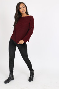 Wine knitted jumper