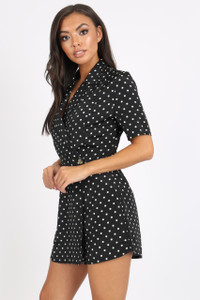 Black Spot Revere Collar Playsuit