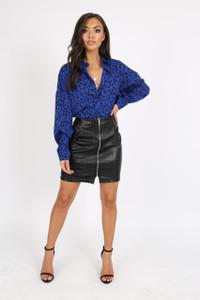 Black Studded PU Leather Skirt