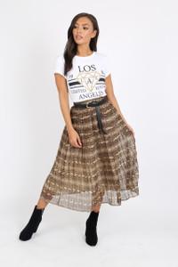 Brown Pleated Snake Print Midi Skirt