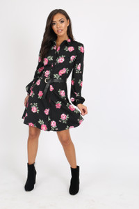 Black Floral Button Down Shirt Dress