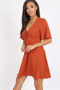 Rust Tie Front Babydoll Dress