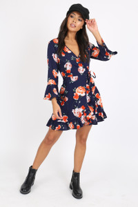 Navy Floral Ruffle Hem Mini Dress