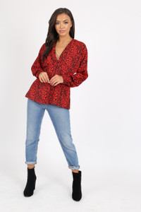 Red Animal Print Smock Top
