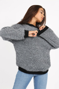 Black Fluffy Stripe Knitted Jumper