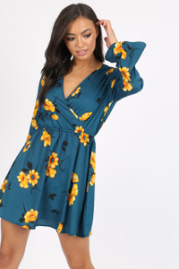 Green Floral Flute Sleeve Skater Dress