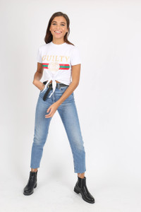 White Guilty Tie Front Crop Tee