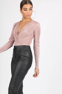 Pink Plissé Wrap Front Bodysuit