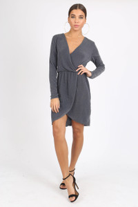 Grey Sparkle Plissé Wrap Mini Dress