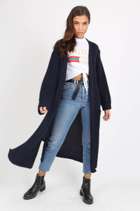 Navy Over Sized Knitted Cardigan