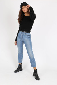 Black Bubble Sleeve Knitted Crop