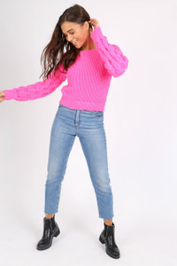 Pink Bubble Sleeve Knitted Crop