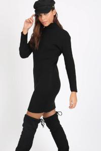 Black High Neck Ribbed Mini Dress