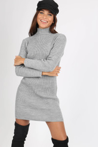 Grey High Neck Ribbed Mini Dress