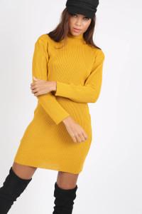Mustard High Neck Ribbed Mini Dress