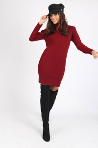 Wine High Neck Ribbed Mini Dress