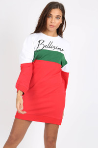 White Bellisimo Slogan Sweat Dress