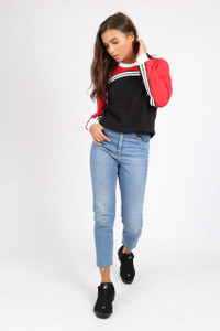 Red Sports Stripe Cropped Sweat
