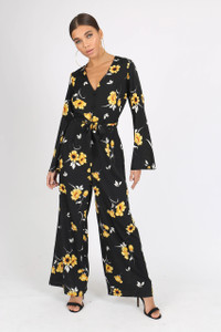 Black Floral V Neck Waist Belted Jumpsuit