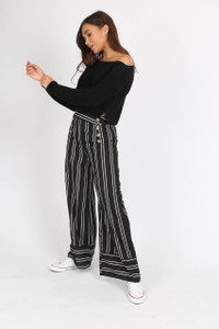 Black Stripe Button Detail Wide Leg Trouser