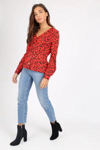 Red Animal Print Button Front Tea Blouse