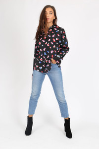 Black Abstract Animal Print Oversized Shirt