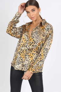 Leopard Satin Animal Print Oversized Shirt