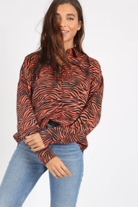Rust Zebra Animal Print Oversized Shirt