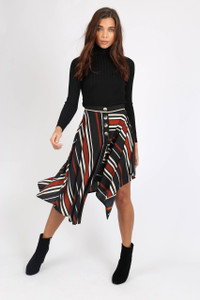 Multi Stripe Asymmetric Hem Midi Skirt