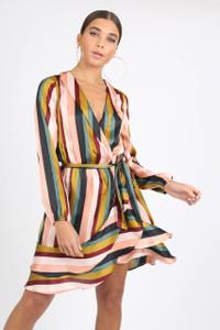 Multi Satin Stripe Ruffle Wrap Mini Dress