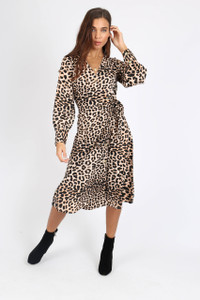 Leopard Print Side Tie Button Wrap Midi Dress