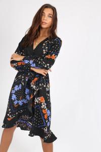 Black Floral Ruffle Hem Wrap Dress