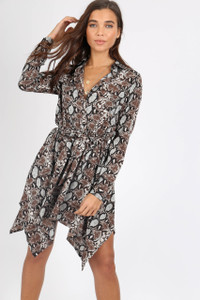 Grey Snake Print Hanky Hem Shirt Dress