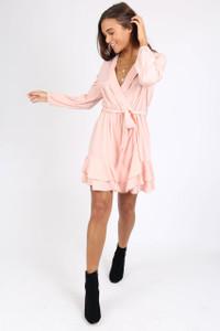 Pink Ruffle Wrap Mini Dress