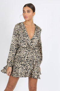 Leopard Satin Print Ruffle Wrap Mini Dress