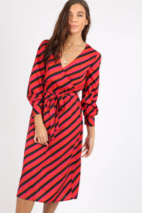 Pink Black Stripe Self Tie Belt Midi Dress