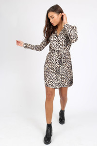 Leopard Print Button Detail Shirt Dress