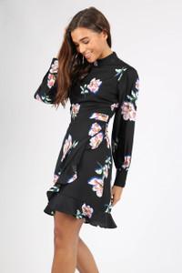 Black Floral High Neck Wrap Mini Dress