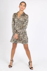 Leopard Print Satin Button Down Shirt Dress