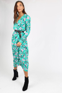 Green Floral Wrap Front Maxi Dress