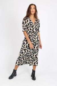 Leopard Print Button Down Midi Dress